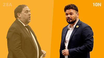 Gabriel Rufián (derecha) sustituye a Oriol Junqueras (izquierda), condenado por la sentencia del 'procés', al frente de ERC en las elecciones generales del 10N.