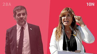Laura Borràs (derecha) es la candidata de JxCat a las elecciones generales después de que el Supremo condenara e inhabilitara a Jordi Sànchez (izquierda) en la sentencia del 'procés'.