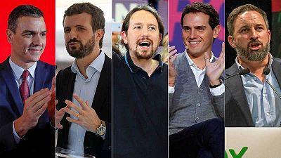 Los principales candidatos en las generales del 10N: Pedro Sánchez (PSOE); Pablo Casado (PP); Pablo Iglesias (Unidas Podemos); Albert Rivera (Ciudadanos); y Santiago Abascal (Vox).