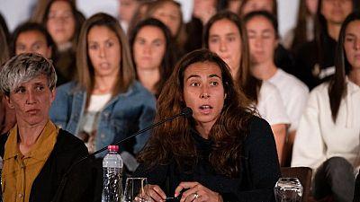 Imagen de la jugadora del Athletic Ainhoa Tirapu el día en el que se convocó la huelga.