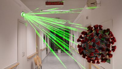 Recreación de un detector láser de virus en el aire en un hospital