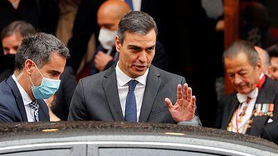 El presidente del Gobierno, Pedro Sánchez, durante su visita este sábado al Vaticano.