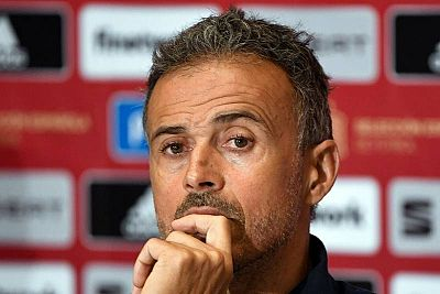 El seleccionador español, Luis Enrique, en rueda de prensa.