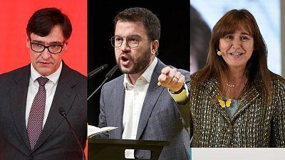 Los candidatos a las elecciones catalanas del 14F del PSC, ERC y JxCat