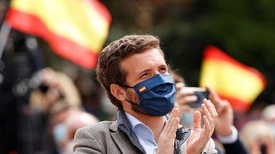 El líder del PP, Pablo Casado, durante un acto de campaña en apoyo a la presidenta de la Comunidad de Madrid, Isabel Díaz Ayuso