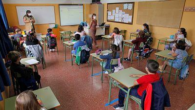 Imagen del primer día de clase en un colegio de Oviedo