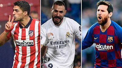 Luis Suárez, Karim Benzema y Leo Messi, los 'pichichi' de Atlético, Madrid y Barça.