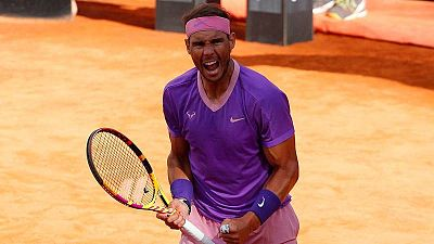 Rafa Nadal celebra su victoria ante Reilly Opelka en la semifinal del Abierto de Roma.