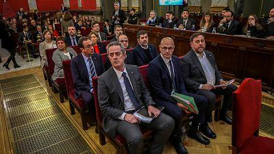 Los presos del 'procés', durante el juicio en el Tribunal Supremo