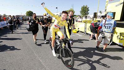 Tadej Pogacar tras terminar la etapa 20 del Tour de Francia