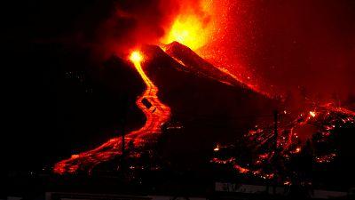 Coladas de lava, tras la erupción en Cumbre Vieja, La Palma.