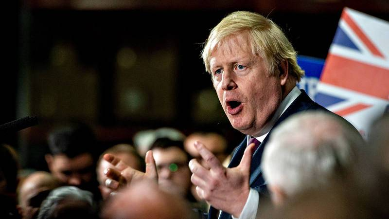 El primer ministro británico y candidato conservador en las elecciones, Boris Johnson, durante uno de sus últimos mítines