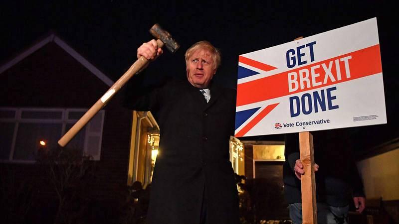 El primer ministro británico, Boris Johnson, durante la campaña electoral