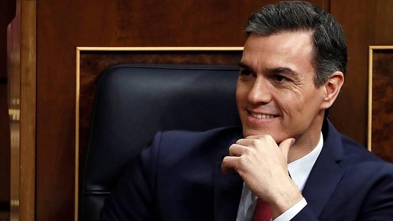 El presidente del Gobierno, Pedro Sánchez, durante el debate de investidura en el Congreso.