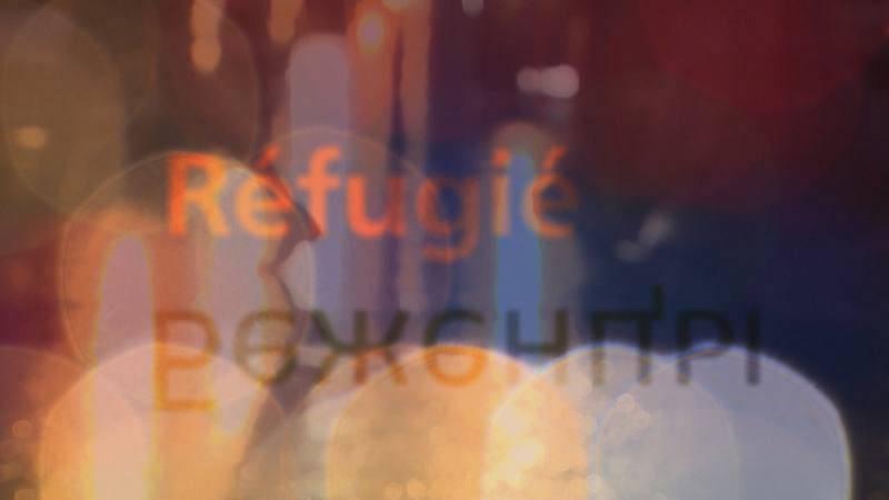 Rótulos de refugiados en varios idiomas