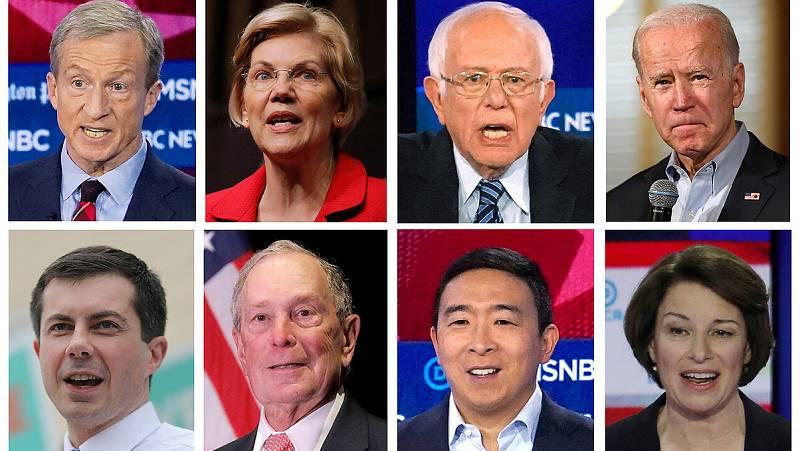 Algunos de los candidatos del Partido Demócrata a las primarias de 2020: de izquierda a derecha, comenzando por la fila superior: Tom Steyer, Elizabeth Warren, Bernie Sanders, Joe Biden, Pete Buttigieg, Michael Bloomberg, Andrew Yang y Amy Klobuchar.
