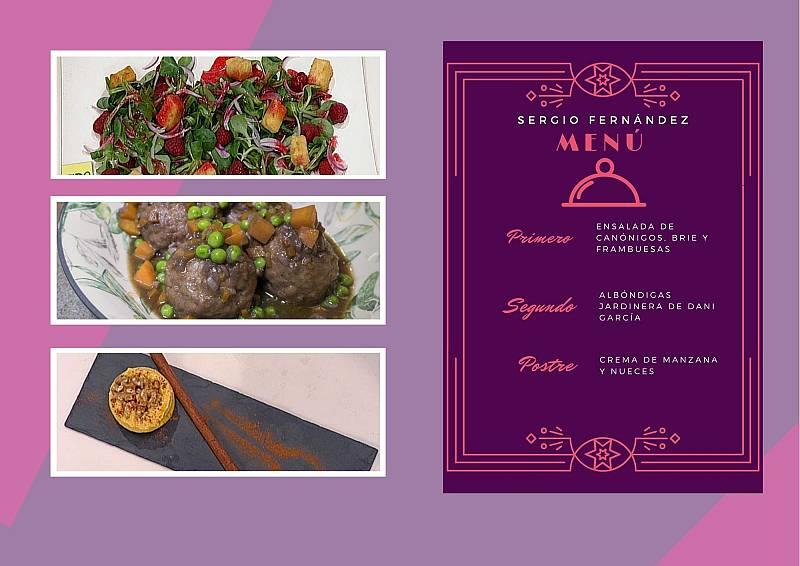 El menú de Sergio Fernández para cocinar en cuarentena