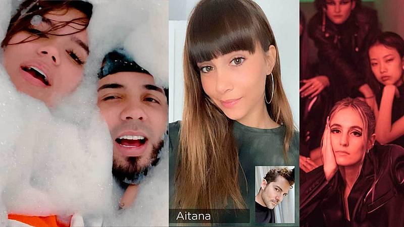 De izquierda a derecha: Anuel AA y Karol G, AItana y María Escarmiento.