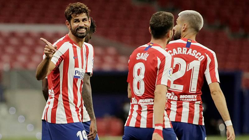 Imagen de los jugadores del Atlético de Madrid durante un partido de LaLiga en el Wanda Metropolitano.