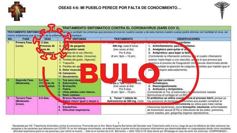 Captura de la tabla con los bulos médicos ofrecidos por la doctora salvadoreña y el sello de bulo de Verifica RTVE.