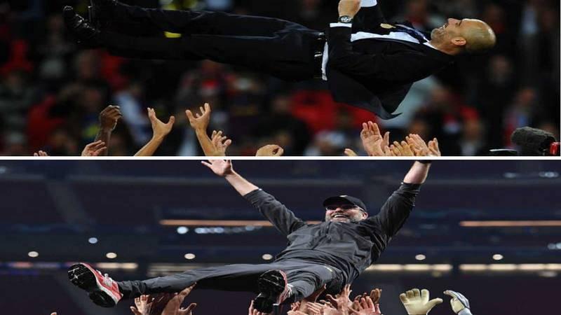 Imagen: Arriba, Guardiola es manteado. Abajo, Jurgen Klopp