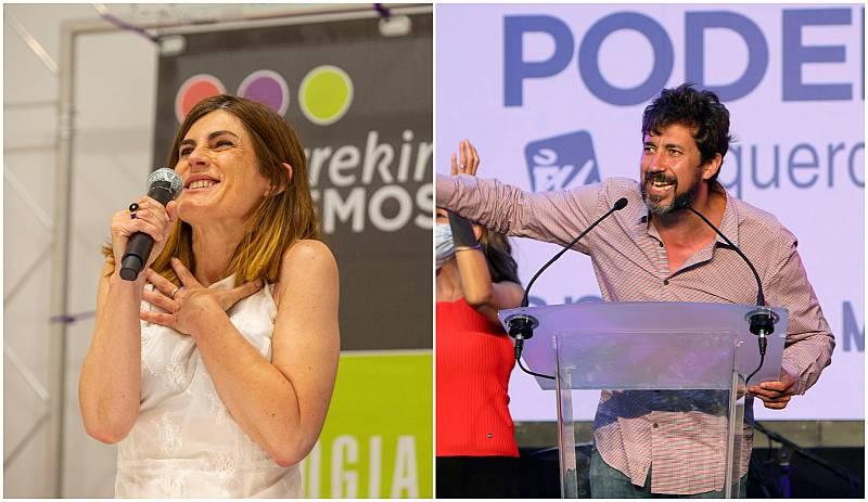 La candidata a lehendakari de Elkarrekin Podemos, Miren Gorrotxategi, y el candidato de Galicia en Común a la presidencia de la Xunta gallega, Antón Gómez-Reino