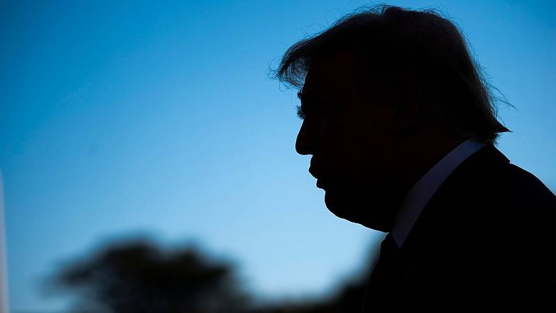 Donald Trump atiende a la prensa en Ohio