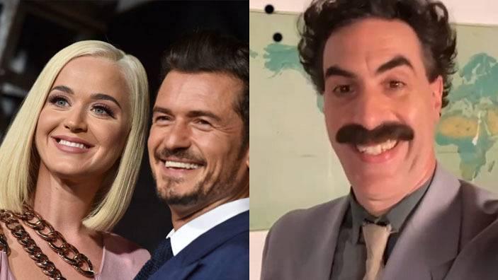 """Borat bromea sobre la """"miga"""" de Orlando Bloom en su vídeo de felicitación a Katy Perry"""
