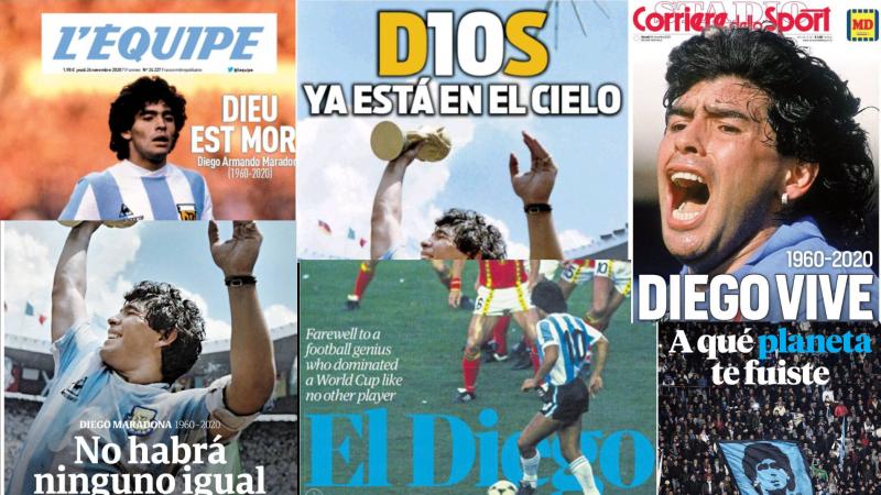 Homenaj mundial en la prensa a Maradona