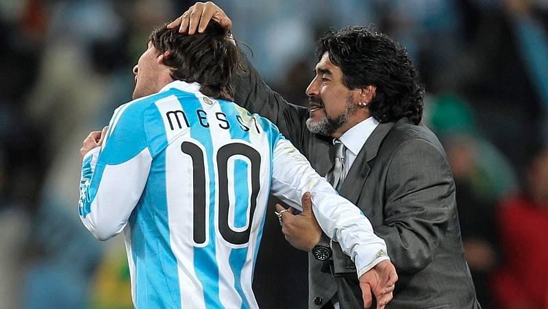 Diego Armando Maradona llegó entrenar a Leo Messi con la selección Argentina