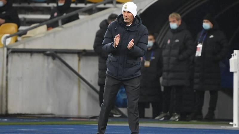 El entrenador del Real Madrid, Zinedine Zidane, en el partido ante el Shakhtar.