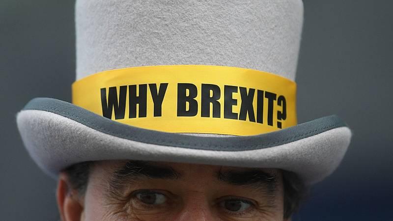 El detractor del 'Brexit', Steve Bray, este viernes en Londres