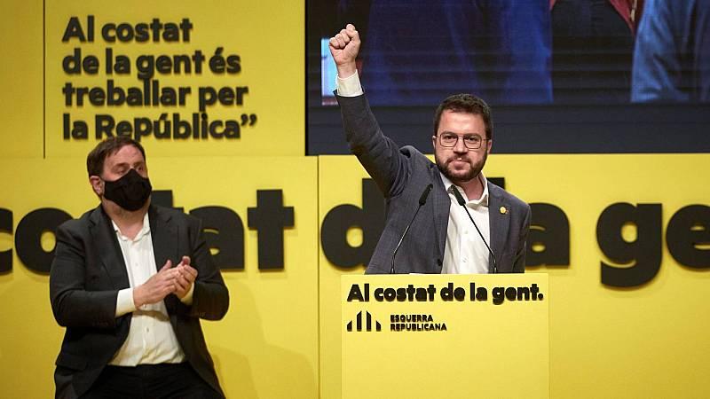 El candidato de ERC a la presidencia de la Generalitat, Pere Aragonés, durante su intervención en el acto central del partido