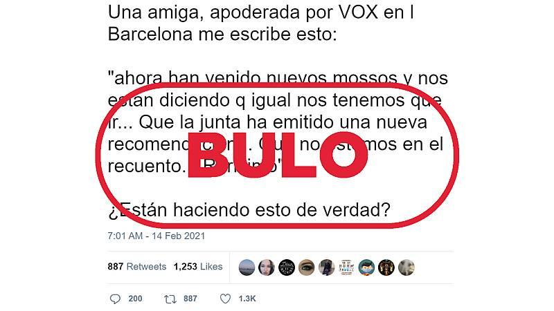 Captura del bulo de los apoderados de Vox expulsados del recuento electoral con el sello de VerificaRTVE.