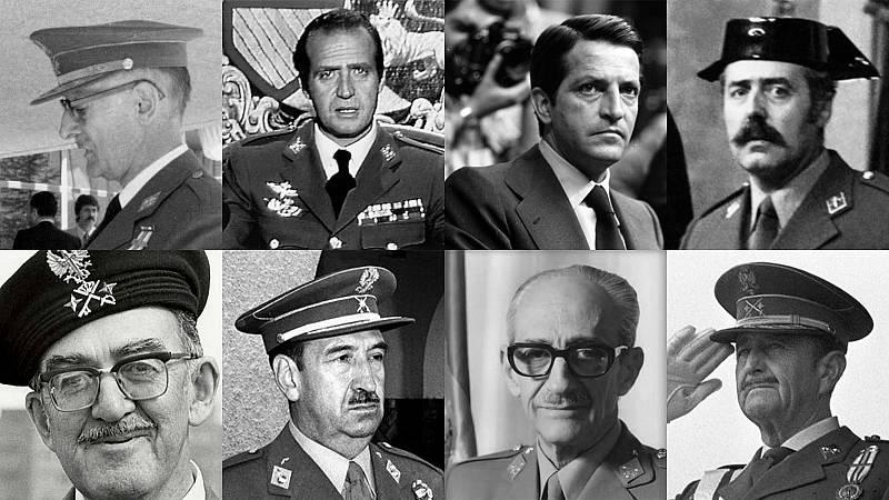 Los protagonistas del 23F: Quintana Lacaci, Juan Carlos I, Adolfo Suárez, Antonio Tejero, José Juste, Alfonso Armada, Gutiérrez Mellado y Milans del Bosch