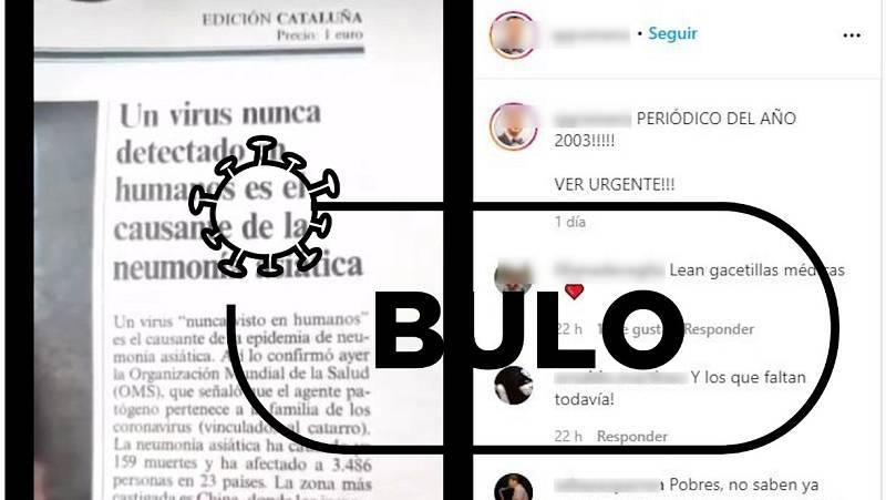 Detalle del vídeo difundido en Instagram con la noticia de la neumonía asiática publicada en El País el 17 de abril de 2003.