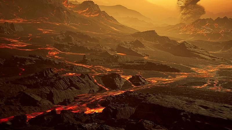 Impresión artística de la superficie del exoplaneta Gliese 486b.