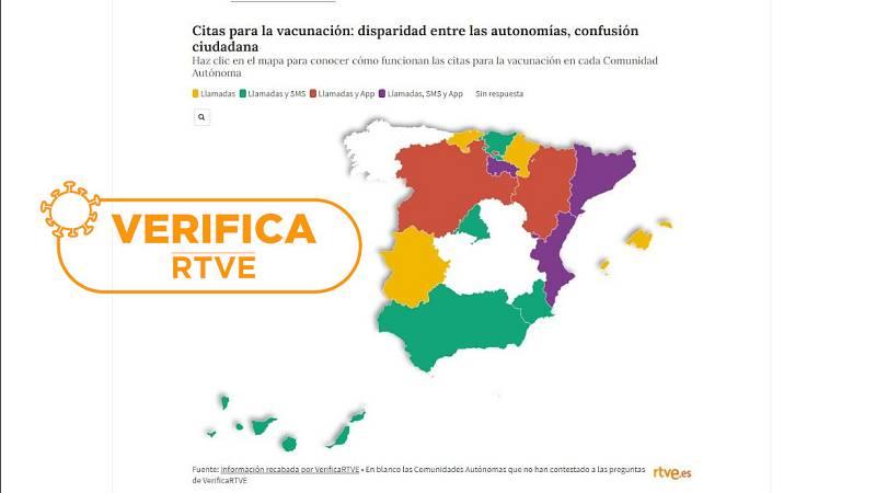 Mapa de España por colores con los tipos de citación para la vacuna contra la COVID-19 con el sello de VerificaRTVE