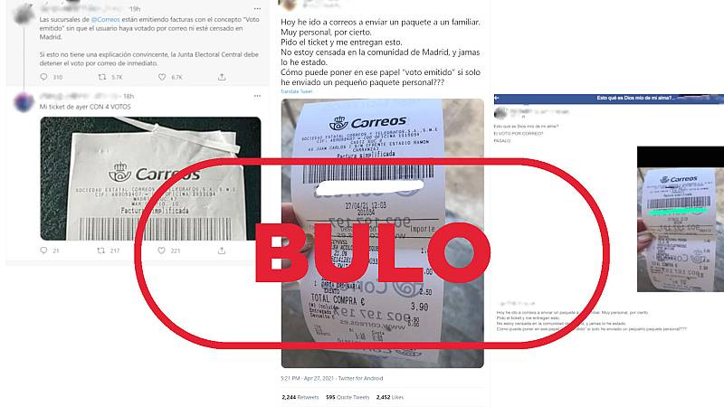 Imagen de los mensajes de redes que muestran tiques de voto por correo con el sello bulo en rojo de VerificaRTVE