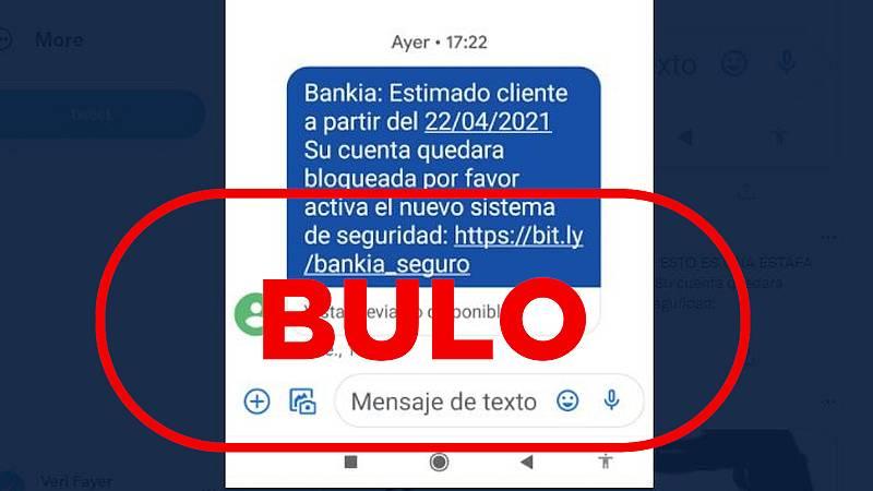 Captura del mensaje SMS que suplanta a Bankia