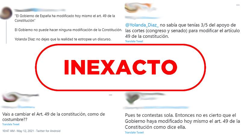 """Capturas de varias reacciones en Twitter al error de Yolanda Díaz, con el sello de """"Inexacto"""""""