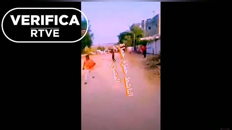 Captura de uno de los vídeos grabados en Gaza con el sello de VerificaRTVE.