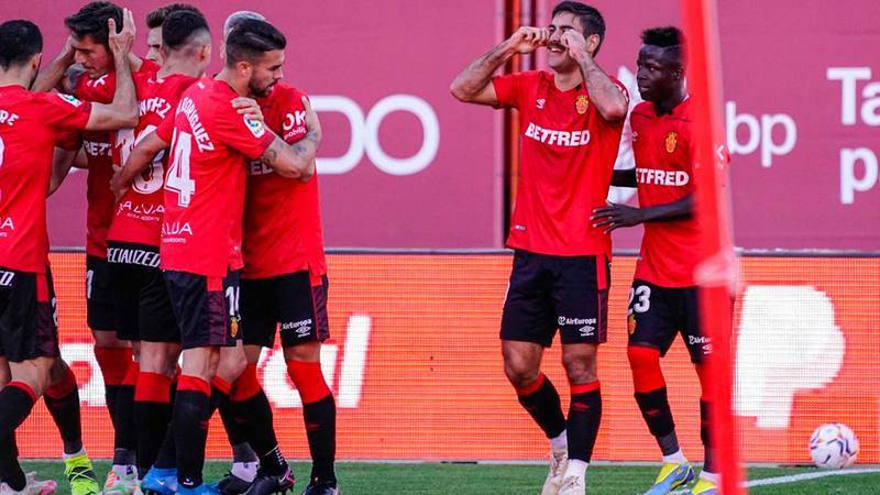 Los jugadores del Mallorca celebran un gol en su último partido