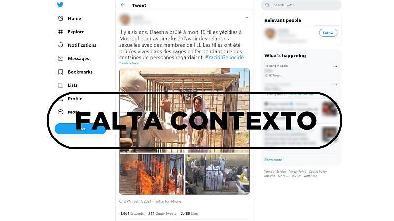 """Este tuit con tres fotos de mujeres ardiendo en jaulas son una """"performance"""", con sello de Falta Contexto."""