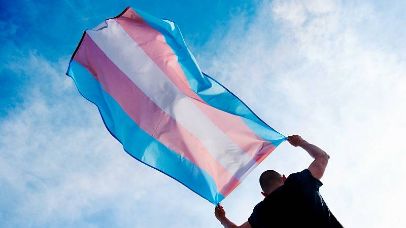Una persona porta una bandera azul, rosa y blanca, símbolo del colectivo trans