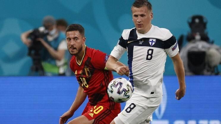Imagen del partido entre Finlandia y Bélgica de la Eurocopa 2020
