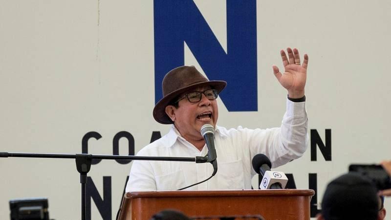 El empresario y periodista Miguel Mora durante su presentación como precandidato a la presidencia de Nicaragua