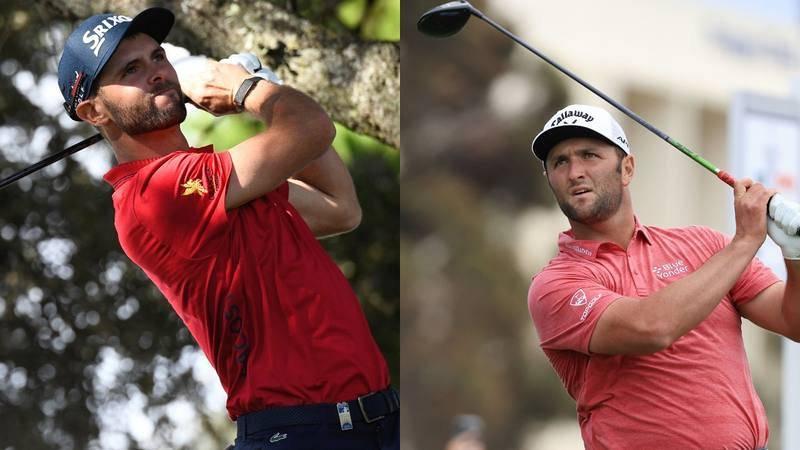 Imagen de los golfistas Adri Arnau y Jon Rahm.