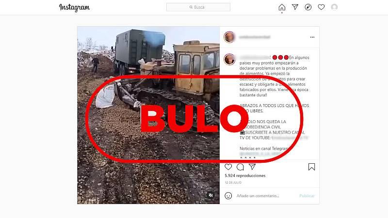 Mensaje con el vídeo y el texto sobre la destrucción de alimentos en Rusia y el sello con la palabra bulo en letras rojas.