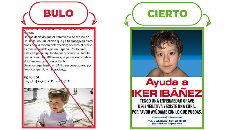 A la izquierda, el mensaje que sobre el falso caso de Raúl, en rojo y tachado, con el sello Bulo. A la derecha, el caso real del niño Iker Ibáñez, con el sello Cierto.